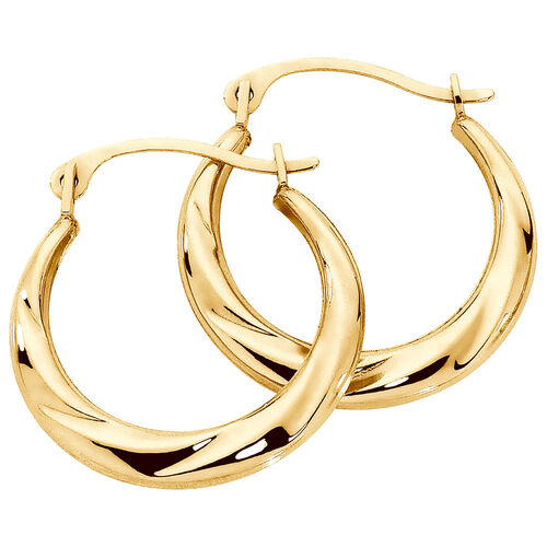17mm Patterned Hoop Earrings In 10ct Yellow Gold