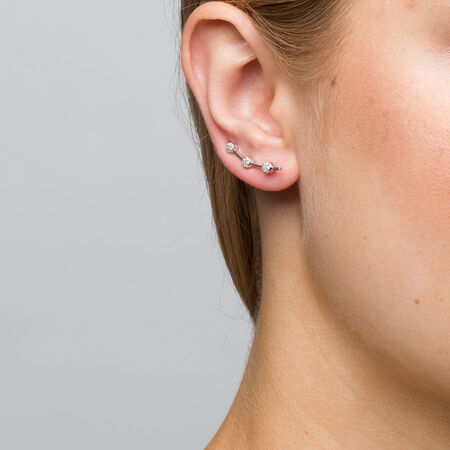 Cluster Ear Climbers with 0.15 Carat TW of Diamonds in Sterling Silver
