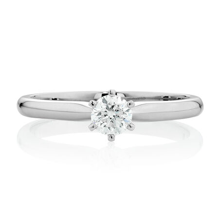 Certified Solitaire Engagement Ring with a 0.34 Carat TW Diamond in 18ct White Gold