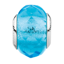 Bright Blue Faceted Glass Charm