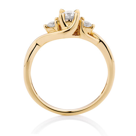 Three Stone Engagement Ring with 1/3 Carat TW of Diamonds in 10ct Yellow Gold