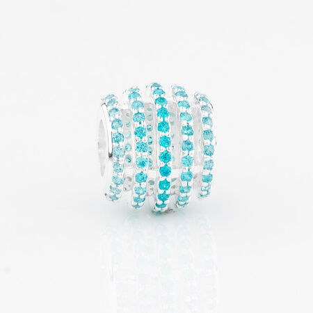 Online Exclusive - Five Row Charm with Aqua Cubic Zirconia in Sterling Silver