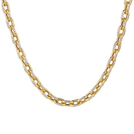 "45cm (18"") Hollow Chain in 10ct Yellow & White Gold"