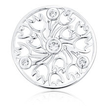 Cubic Zirconia & Sterling Silver Tulip Pattern Coin Locket Insert