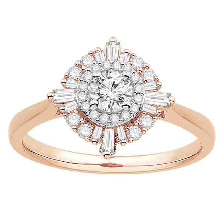 Ring with 0.60 Carat TW of Diamonds in 10ct Rose Gold