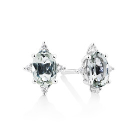 Stud Earrings With  Green Amethyst & Diamonds In 10ct White Gold