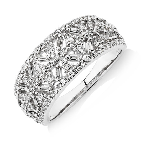 Multi Row Ring with 0.75 Carat TW of Diamonds in 10ct White Gold