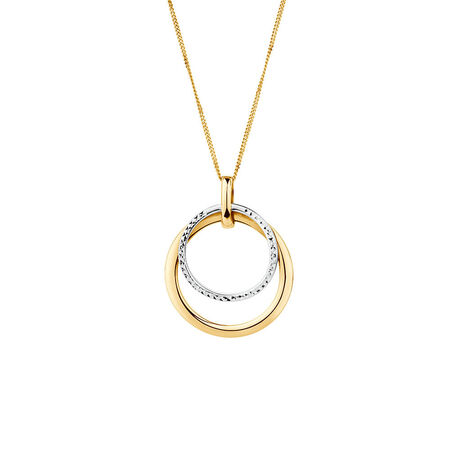 Double Circle Pendant in 10ct Yellow & White Gold
