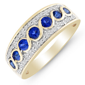 Ring with Created Sapphire & 0.15 Carat TW of Diamonds in 10ct Yellow Gold
