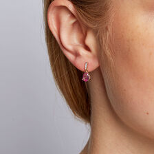 Drop Earrings with Created Pink Sapphire & Diamonds in 10ct Yellow & White Gold