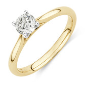 Evermore Solitaire Engagement Ring with 0.34 Carat TW Diamond in 14ct Yellow & White Gold