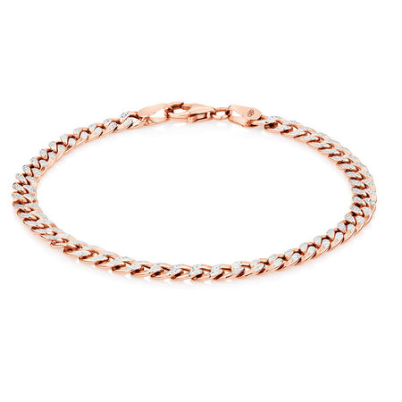 "19cm (7.5"") Curb Bracelet in 10ct White & Rose Gold"