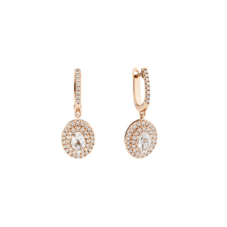 Morganite Double Halo Earrings with 0.38 Carat TW of Diamonds in 10ct Rose Gold