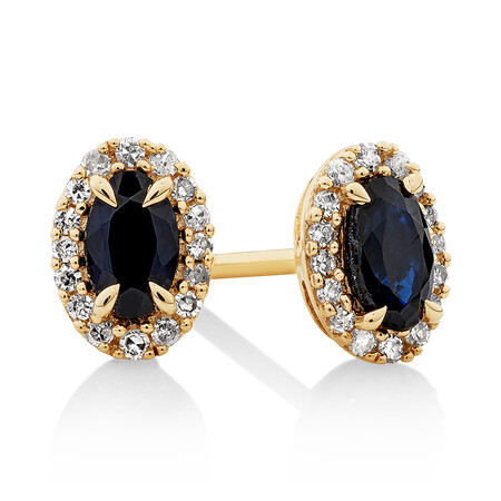Halo Stud Earrings with Sapphire & 0.12 Carat TW of Diamonds in 10kt Yellow Gold