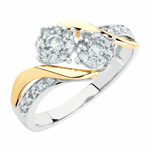 Evermore Engagement Ring with 0.50 Carat TW of Diamonds in 10ct White & Yellow Gold