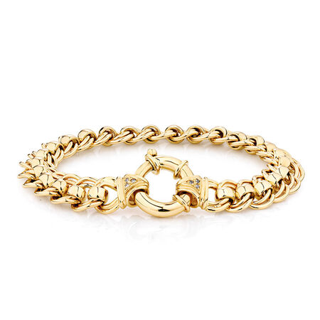 Diamond Set Roller Bracelet in 10ct Yellow Gold