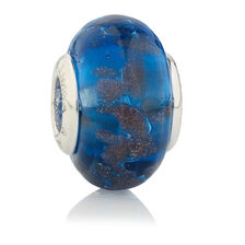 Online Exclusive - Blue & Bronze Glass Charm in Sterling Silver