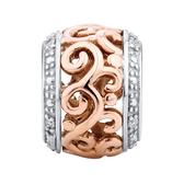 Diamond Set, 10ct Rose Gold & Sterling Silver Filigree Charm