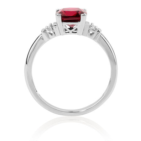 Ring with Created Ruby & Diamonds in 10ct White Gold
