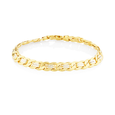 """23cm (9.5"""") Curb Bracelet In 10ct Yellow And White Gold"""