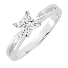 Online Exclusive - Solitaire Engagement Ring with a 1/2 Carat Diamond in 18ct White Gold