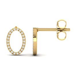 Oval Stud Earrings with Diamonds in 10ct Yellow Gold
