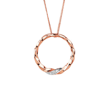 Twist Circle Pendant with Diamonds in 10ct Rose Gold