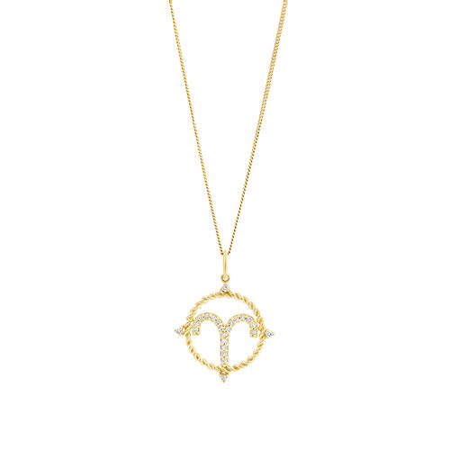 Aries Zodiac Pendant with 0.15 Carat TW of Diamonds in 10ct Yellow Gold