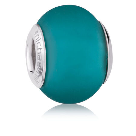 Teal Matte Murano Glass Charm