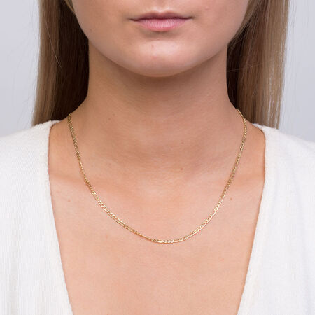 """45cm (18"""") Figaro Chain in 10ct Yellow Gold"""