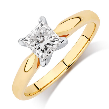 Evermore Solitaire Engagement Ring with 1 Carat TW Diamond in 14ct Yellow & White Gold