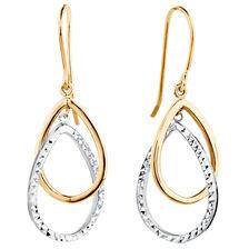 Drop Earrings in 10ct Yellow & White Gold