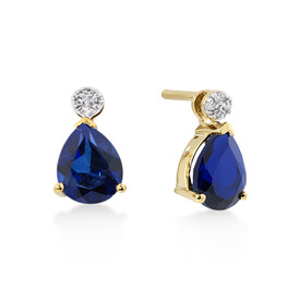Pear Stud Earrings With Diamonds And Created Sapphire In 10ct Yellow Gold