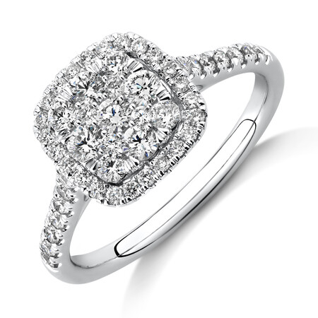Square Cluster Halo Ring with 0.75 Carat TW of Diamonds in 10ct White Gold