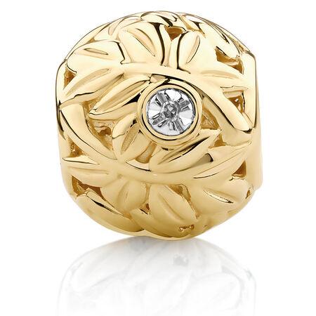 Diamond Set Leaf Pattern Charm in 10ct Yellow Gold