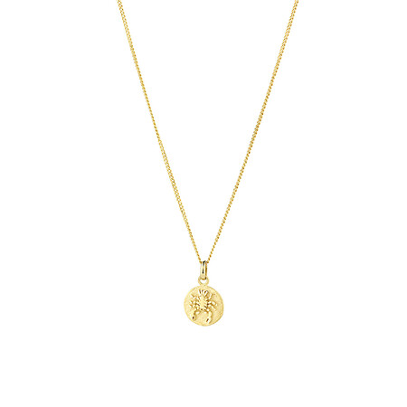 Cancer Zodiac Pendant in 10ct Yellow Gold