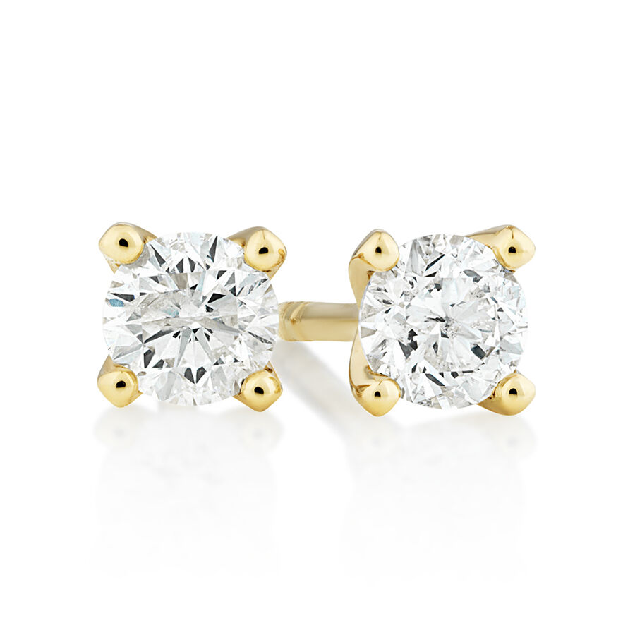 Solitaire Earrings with 0.25 Carat TW of Diamonds in 10ct Yellow Gold