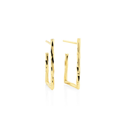 Twisted Rectangle Hoop Stud Earrings in 10ct Rose Gold