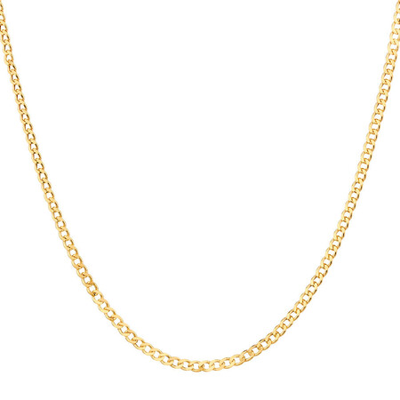 """50cm (20"""") Hollow Curb Chain in 10ct Yellow Gold"""