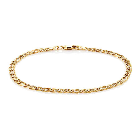 "19cm (7.5"") Double Oval Curb Bracelet in 10ct Yellow Gold"