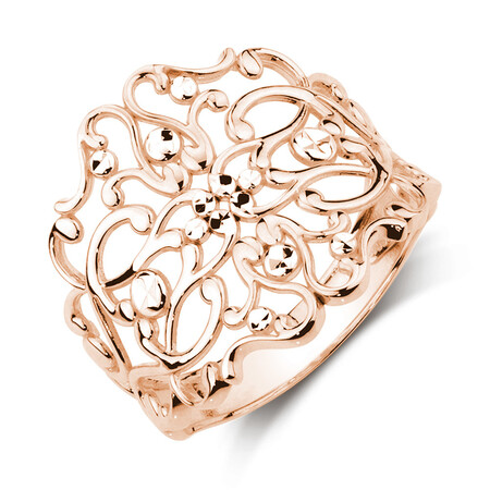 Filigree Ring in 10ct Rose & White Gold