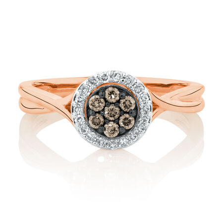 Ring with 1/4 Carat TW of White & Natural Brown Diamonds in 10ct Rose Gold