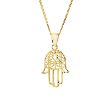 Hamsa Hand Pendant in 10ct Yellow Gold