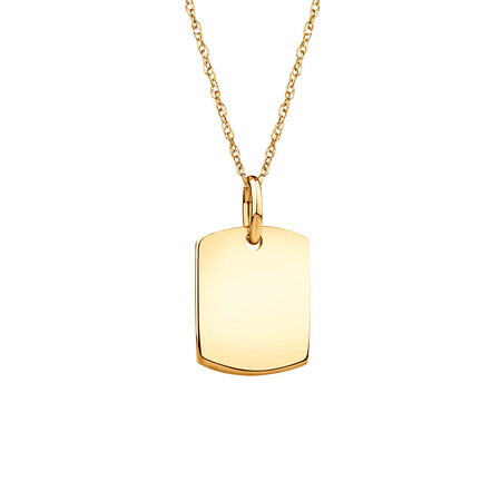 Plain Tag Pendant In 10ct Yellow Gold