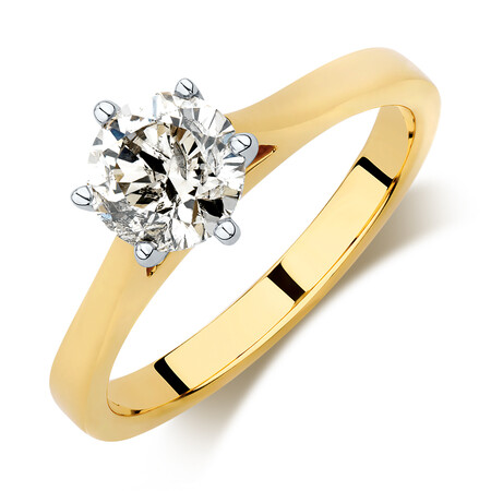 Prelude Solitaire Engagement Ring with 2 Carat TW Diamond in 14ct Yellow & White Gold