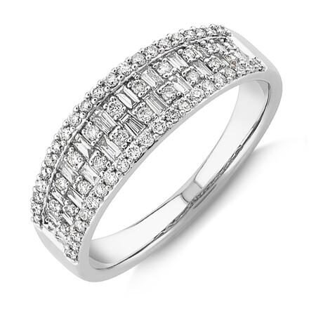Multi Row Ring with 0.50 Carat TW Diamond in 10ct Yellow Gold