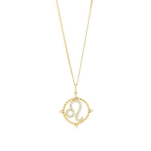Leo Zodiac Pendant with 0.20 Carat TW of Diamonds in 10ct Yellow Gold