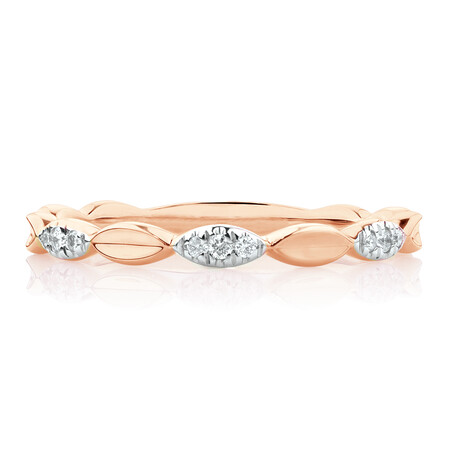 Marquise Stacker Ring with Diamonds in 10ct Rose Gold