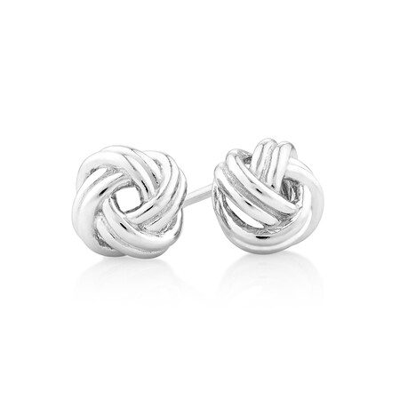 Knotted Swirl Studs in Sterling Silver