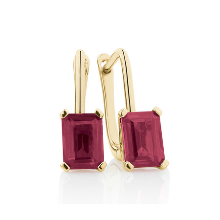 Emerald Cut Drop Earrings with Created Ruby in 10ct Yellow Gold
